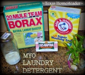 3 Ingredient laundry detergent recipe uses 1-2 tablespoons per typical load. Cheap, easy to make, and effective! #TxHomesteader