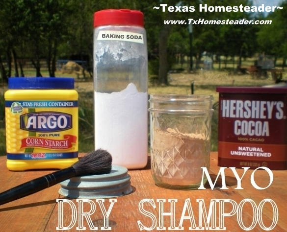 A quick & easy dry shampoo recipe using only 3 ingredients.  Would be perfect for camping too. #TxHomesteader