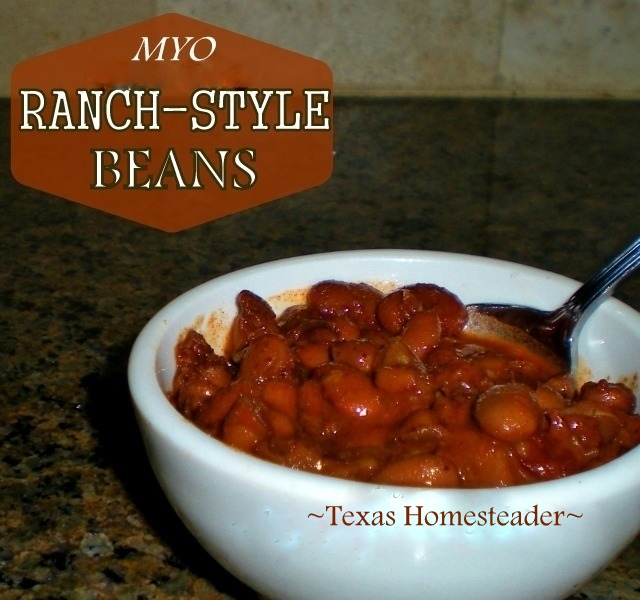 I'm making my own inexpensive RANCH-STYLE BEANS these days. The recipe is easy using items I typically have in my pantry & it makes a LOT! #TexasHomesteader