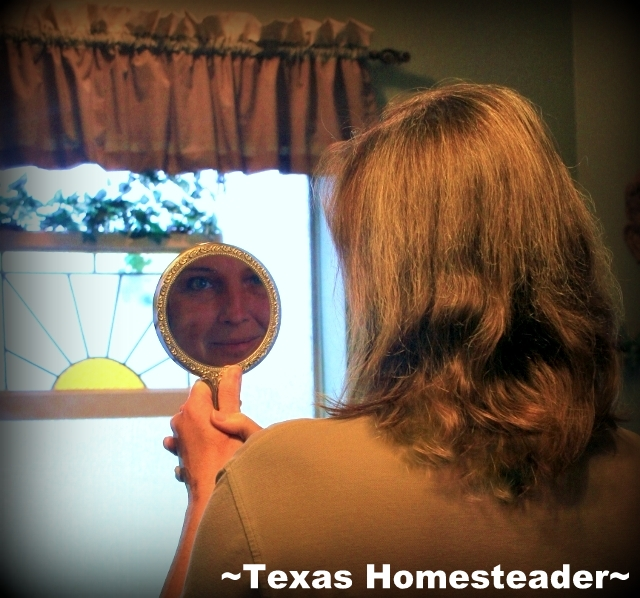Read what my newly-emerging 'Platinum Blonde' streaks say about my life. Why would I want to change it? I've found happiness in life. #TexasHomesteader