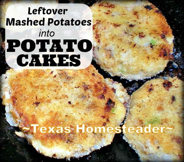 POTATO CAKES! I use leftover mashed potatoes to make potato cakes. Quick & easy and a great way to rework leftovers into something DELICIOUS! #TexasHomesteader