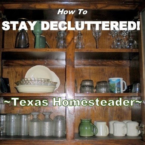 Read how we easily reduce the clutter and 'visual noise' in our home, then KEEP it decluttered. It's actually very easy to do! #TexasHomesteader