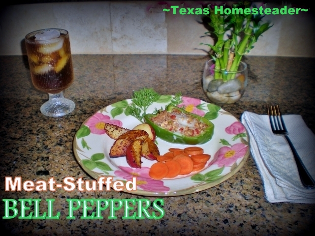Recipe: Stuffed Peppers. Delicious and makes enough to freeze for later meals too - Cook Once, Eat Twice. Enjoy Those Garden Peppers! #TexasHomesteader