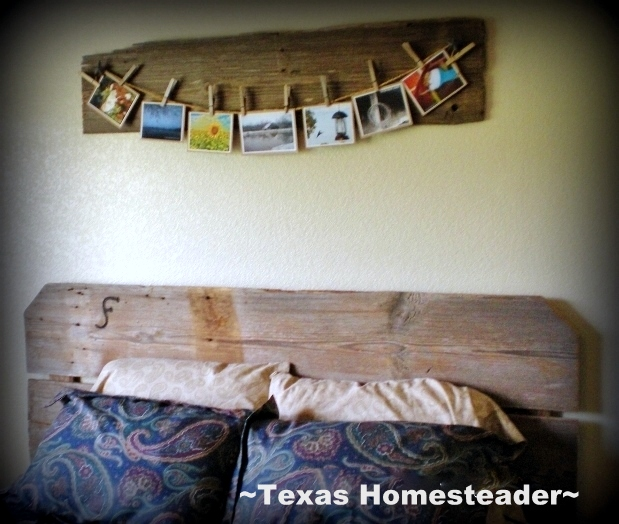 I used reclaimed wood from our 1880's barn, vintage clothes pins and my favorite ranch photos to produce a wall feature we love! #TxHomesteader