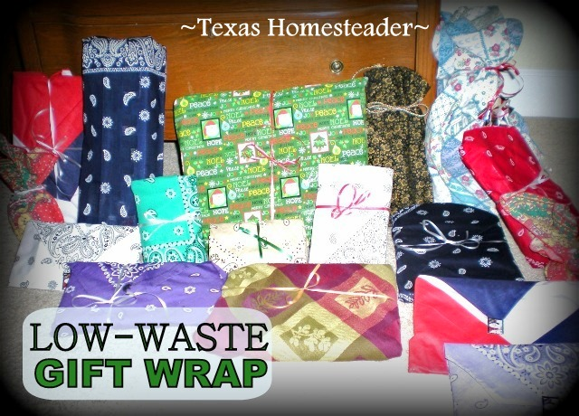 Less Waste Wrapping. There are easy ways to reduce the landfill-bound trash after Christmas is over. See what works for us! #TexasHomesteader
