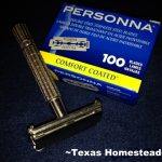 Vintage Safety Razor. here are many gift options for environmentally-aware for friends. Help them ditch the plastic with a safety razor or glass water bottle - many gift ideas! #TexasHomesteader