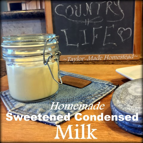It's shocking how easy it is to make sweetened condensed milk. In our area a can of the name-brand stuff sells for about $3.49. CRAZY! #TaylorMadeHomestead