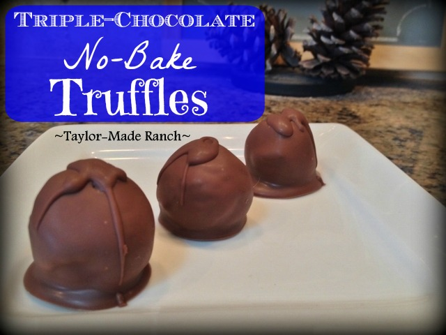 Celebrate CHOCOLATE! Oh yes Triple Chocolate Truffles using only FOUR ingredients!! Check out this super quick & easy recipe y'all... #TaylorMadeHomestead