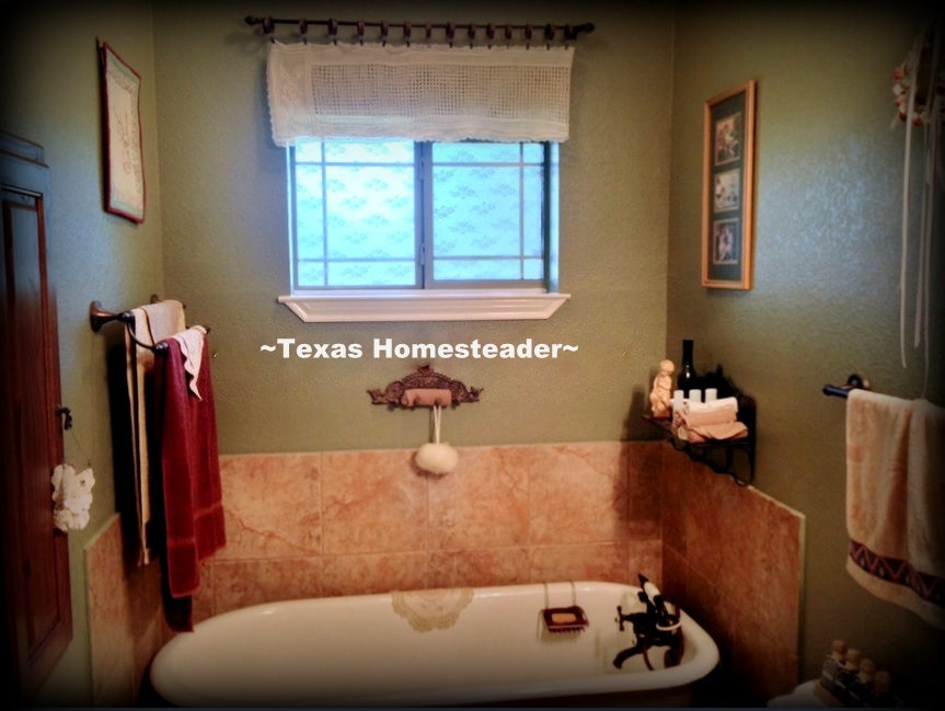 My bathroom window is small but it needs to be covered for privacy. I easily added a beautiful lace window treatment directly to the glass. PERFECT, and totally removable if needed. #TexasHomesteader