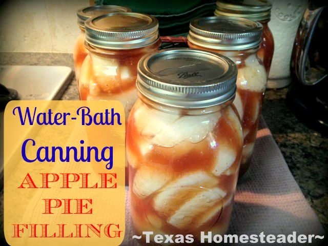 This apple pie filling recipe is straightforward and canning requires just a 20-minute stint in a water-bath canner #TxHomesteader