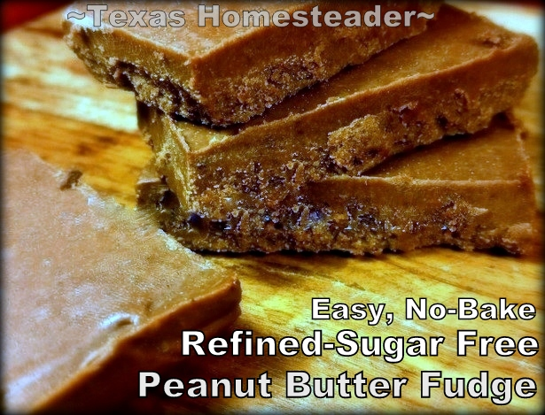 A NO-BAKE PEANUT BUTTER FUDGE RECIPE That Contains NO Refined Sugar! For your guests with food restrictions - Quick. Easy. Healthy! #TexasHomesteader