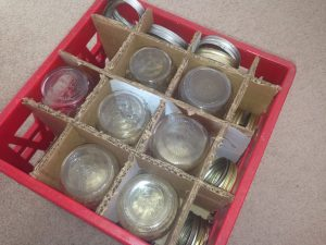 New canning jars are now sold in half boxes shrink-wrapped in plastic, I don't want to use them to store my empty jars. See what we did! #TexasHomesteader