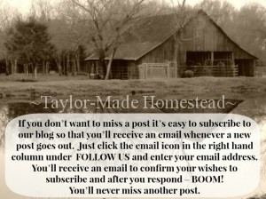 It's easy to subscribe to our blog at www.TaylorMadeHomestead.com
