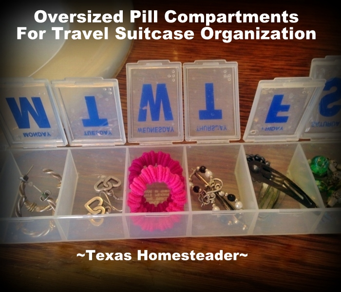 HOMESTEAD HACK: Travel Bag Organization. I use an oversized pill box to store small travel accessories. #TexasHomesteader