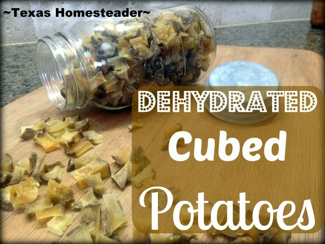 Dehydrating cubed potatoes for the pantry, an easy way to preserve the excess! A Mother Earth News post. #TexasHomesteader