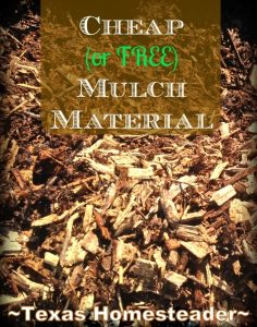 Don't assume your only option is to buy mulch! Check with your city, utility company or local extension agent & you could get it FREE! #TexasHomesteader
