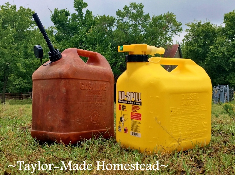 Hard as he may try, RancherMan would always splash fuel when filling my tractor's tank. Let's try this No-Spill can & see how it works! No-Spill Gas Can Design Difference #TaylorMadeHomestead