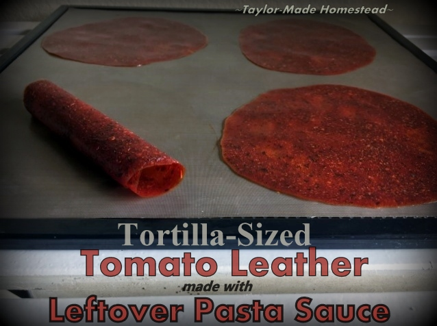 Recently I had leftover pasta sauce so I decided to make some tortilla-sized pizza leather. I'll use them on our tortilla pizzas! #TaylorMadeHomestead