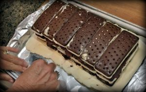 I make a quick Ice Cream Cake using Ice Cream Sandwiches for a deliciously cold sweet summertime treat. C'mon I'll show you how! #TexasHomesteader