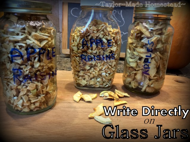 I'm a big fan of repurposing glass jars but I need an easy way to label the contents.. You can write directly on the glass! #TaylorMadeHomestead
