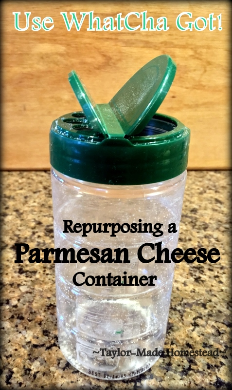 When my sis offered an empty Parmesan cheese container for me to repurpose I was excited. See how it simplifies my life in the kitchen. #TaylorMadeHomestead