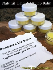 She uses beeswax to make a natural lip balm in minutes. It really couldn't be easier - only 3 ingredients! Check it out, y'all. #TexasHomesteader