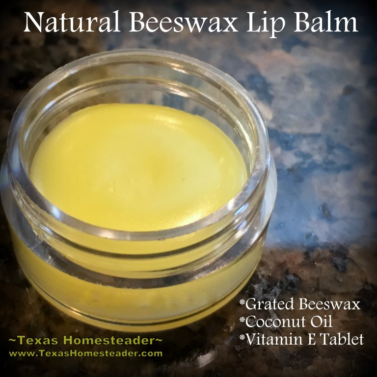 Beeswax Lip Balm. She uses beeswax to make a natural lip balm in minutes. It really couldn't be easier - only 3 ingredients! Check it out, y'all. #TexasHomesteader