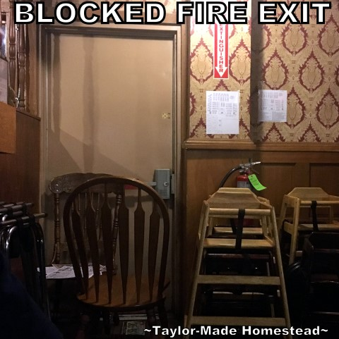 When you go to a restaurant, do you notice the emergency exits? Are they blocked? Locked?? This is a life-or-death fire safety issue! #TaylorMadeHomestead