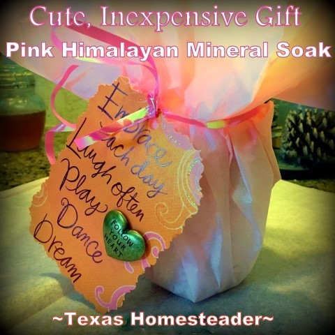 A cute, thoughtful gift doesn't have to break the bank. See how I made up several cute, inexpensive Himalayan Pink Bath Salt gifts. #TexasHomesteader
