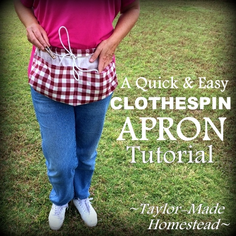 For very little money I made a clothespin apron. I used fabric from a thrift store and some cotton cording. See my easy tutorial. It was an awesome gift! #TaylorMadeHomestead