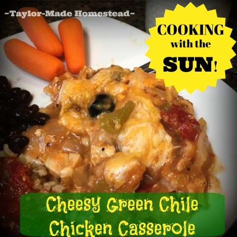 Cheesy Green Chile Chicken Casserole - I used my solar oven to make the casserole, but you could bake it in a regular oven too. #TaylorMadeHomestead