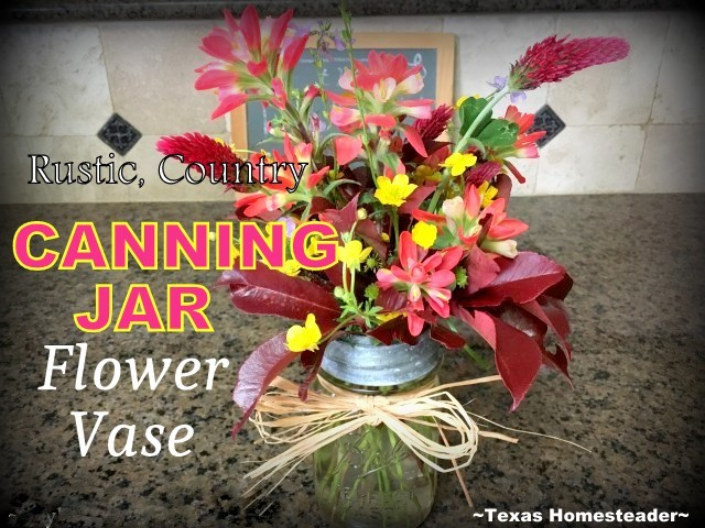 You can use an old or repurposed canning jar to make an adorable rustic country flower vase. I love it, and it's so easy to do! #TxHomesteader