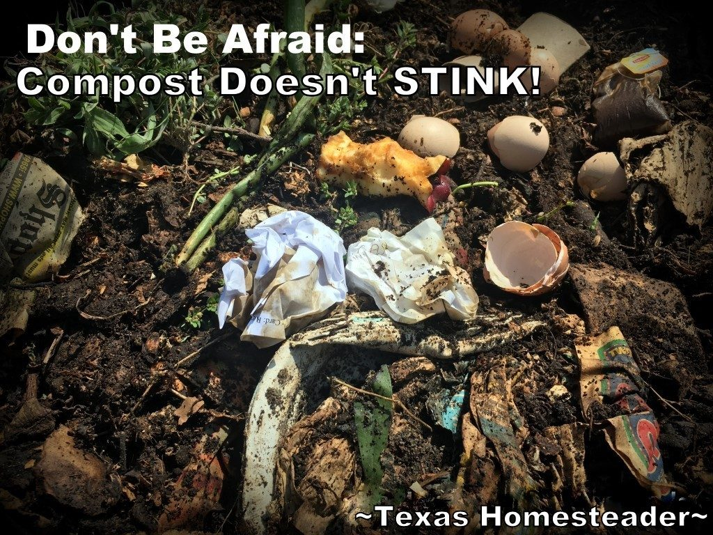 For those starting out with composting there's some hesitation. You're rotting things in a pile, doesn't that stink? The answer is: NO! #TexasHomesteader