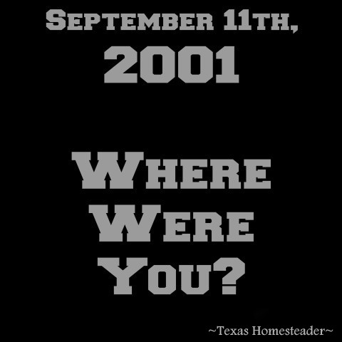 September 11th, 2001. Little did I know this day would change my life and the lives of all my fellow Americans forever! Where were you? #TexasHomesteader