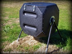 Tumbling Composter. Why I Recycle LESS. Yes I love Mother Nature, but I've found by recycling less I'm not only saving lots of money, I'm saving the environment too! #TaylorMadeHomestead