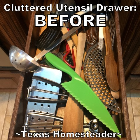 Decluttering The Kitchen Utensil Drawer! This has improved the efficiency in my kitchen megafold and was the quickest & easiest decluttering task yet. #TexasHomesteader