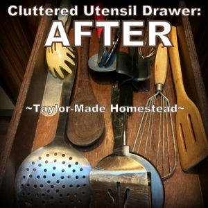 Decluttering The Kitchen Utensil Drawer! This has improved the efficiency in my kitchen megafold and was the quickest & easiest decluttering task yet. #TaylorMadeHomestead