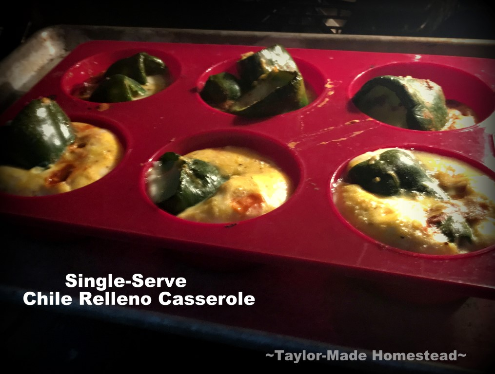 I love chile relleno, but it's more work in the kitchen than I want. Come see my lazy cook's version of chile relleno, baked into single-serve cups! #TaylorMadeHomestead