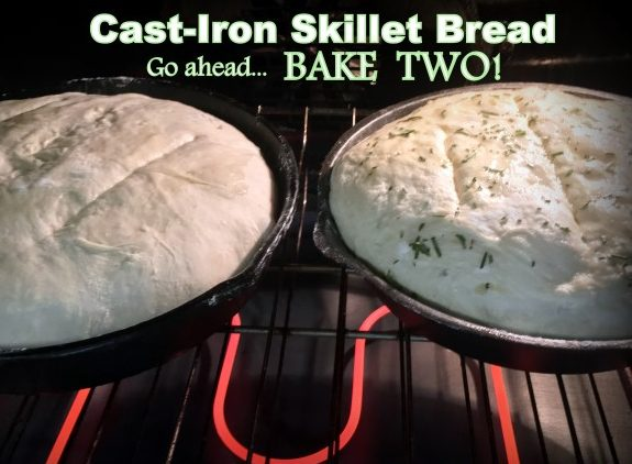 Easy Rosemary Skillet Bread Recipe. A delicious no-knead bread baked in a cast iron skillet and seasoned with fresh rosemary from the garden. #TxHomesteader