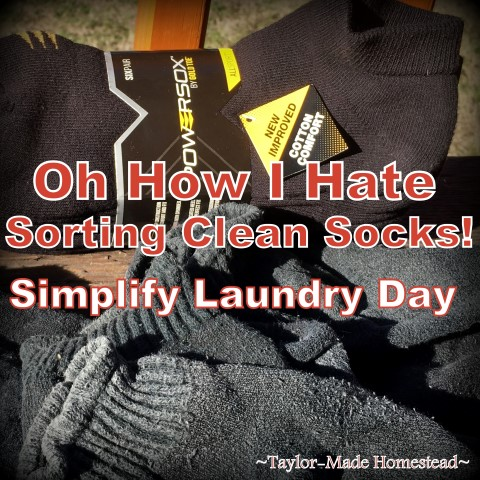 Do you hate sorting socks? I do! But I've found an easy way to eliminate that bag of mis-matched pairs and to streamline sorting socks on laundry day. #TaylorMadeHomestead
