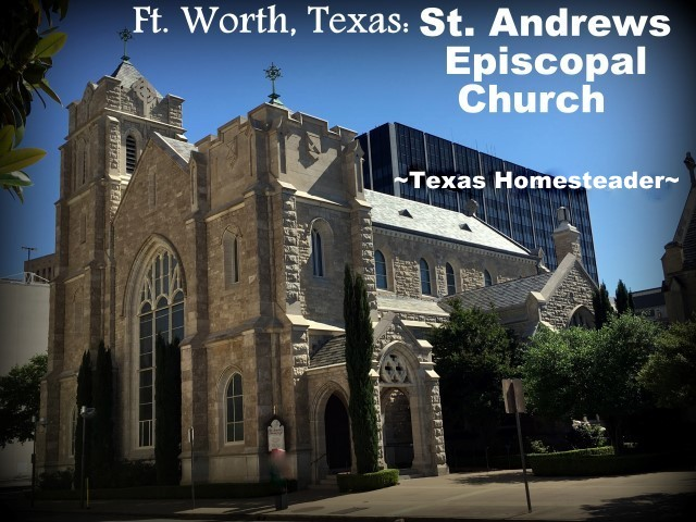 St. Andrews Episcopal Church. We took a vacation in Ft. Worth, Texas. I've lived in the Dallas area most of my life, so of course I've been to Ft. Worth many times. But it was always to drive to a specific location or event, never to stay & play. Now this is gonna be fun! #TexasHomesteader