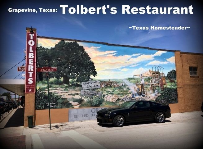Tolbert's Restaurant in Grapevine, TX. We took a vacation in Ft. Worth, Texas. I've lived in the Dallas area most of my life, so of course I've been to Ft. Worth many times. But it was always to drive to a specific location or event, never to stay & play. Now this is gonna be fun! #TexasHomesteader