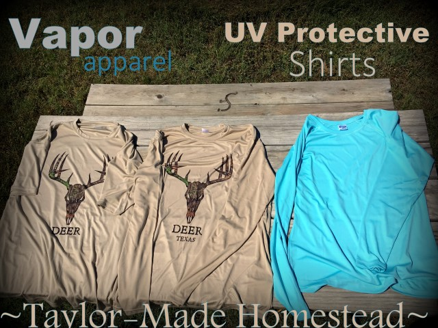 I hate slathering sunscreen on my skin every day. All those chemicals! But we work outside each day & sun protection is important! I've opted to protect my skin with sun-protective clothing from Vapor Apparel. #TaylorMadeHomestead