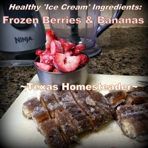 Now that it's hot outside I whip up a frozen sweet treat. It's like healthier ice cream using frozen bananas and berries. Delicious, cheap and healthy. #TexasHomesteader