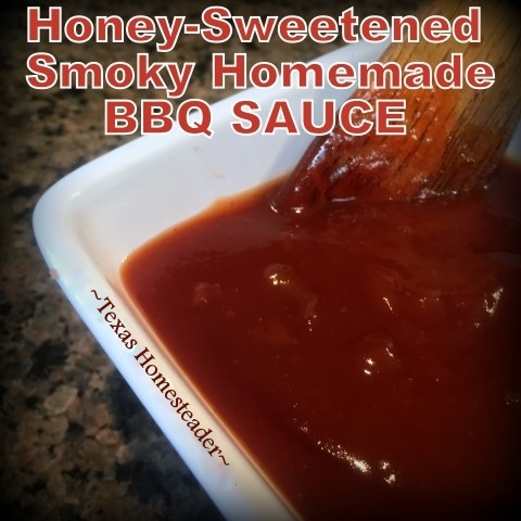 Check out this super-quick recipe for a sweet & tangy smoky BBQ sauce. It mixes up in minutes and is customizable to your tastes. #TexasHomesteader