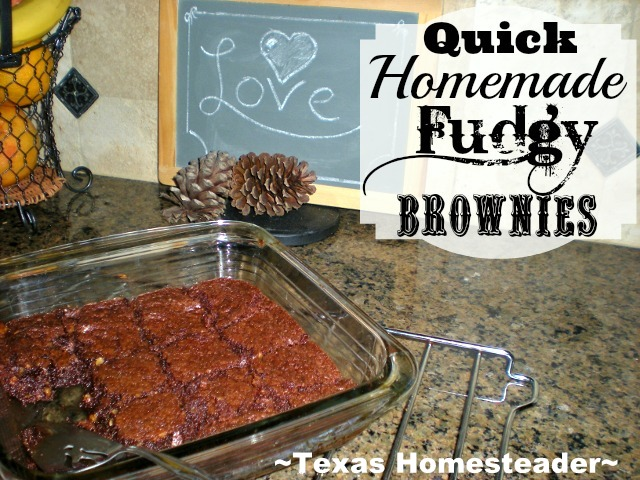 My brownie recipe makes delicious soft brownies - with just one bite you're transported into chocolate heaven. Check out my easy recipe! #TexasHomesteader