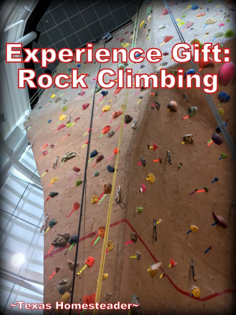 Experience Gift: Rock climbing. We gifted all four of our grandchildren this experience gift for Christmas and we all had a blast! #TexasHomesteader