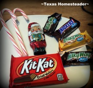 Candy Santa's Sleigh candy parts. You can make a cute Santa sleigh using candy canes and candy bars. A cute gift for kids, teachers, or anyone else! #TexasHomesteader