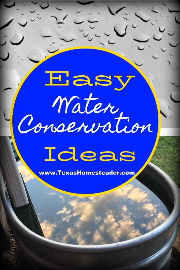 When drought hits, it's time to step up your water conservation game. I'm sharing this post about outside water conservation & rain water. How do you conserve water outdoors? #TexasHomesteader