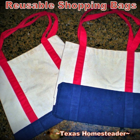 Canvas reusable shopping bags replace disposable plastic shopping bags #TexasHomesteader